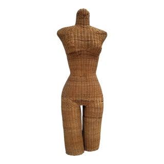 1970s Figurative Wicker Female Mannequin Torso