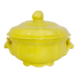 Vintage Ca. 1950s Luneville Tradition France Louis XV Yellow Tureen For Sale