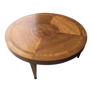 Lane Mid-Century Modern Inlaid Burl & Walnut Coffee Table For Sale