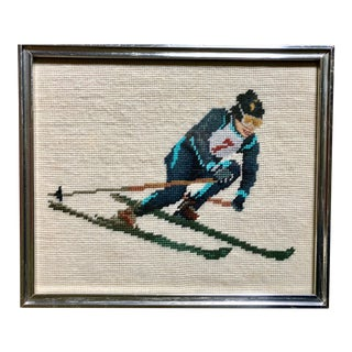 """Downhill Skier"" Framed Retro Needlepoint Art"