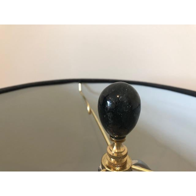 Asian Asian Modern Cream Crackle Glaze Table Lamp With Black Linen Tapered Drum Shade For Sale - Image 3 of 7