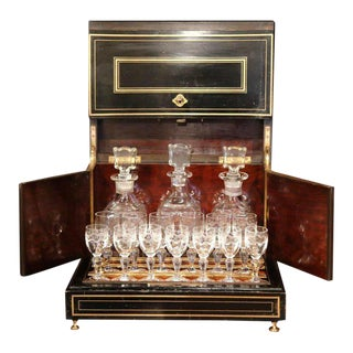 19th Century French Napoleon III Mahogany Cave à Liqueur With Bronze Inlay For Sale