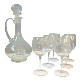 Toscany Etched Grape Pattern Decanter and 6 Wine Glasses For Sale