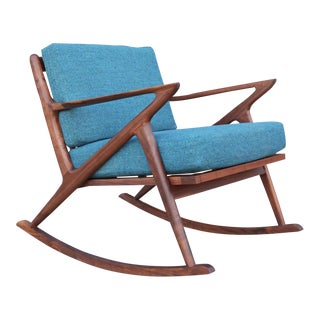Modern Solid Walnut Rocking Chair For Sale