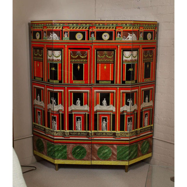 """""""Pompeiana"""", an exceptional and rare, lacquered wood, lithographically printed and colored encoignure / corner cabinet by..."""
