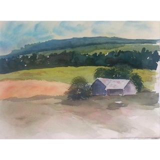 1990s Country Landscape Watercolor For Sale