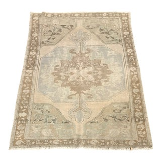 Vintage Neutral Turkish Rug - 4′3″ × 7′