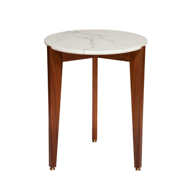Stillmade Walnut Tripod Side Table with Calcutta Marble Top - Image 2 of 4
