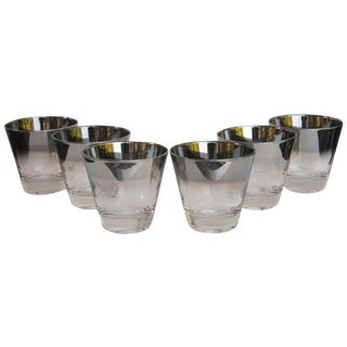 Mid-Century Silver Rim Cocktail Glasses - Set of 6