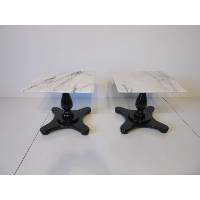 Italian Carrara Mable Top Pedestal Based Side Tables - a Pair For Sale - Image 9 of 10