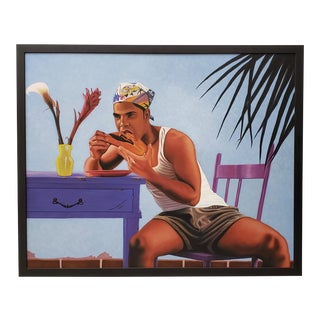 "Steve Walker (Canada, 21st C.) ""Carlos With Papaya"" Original Acrylic Painting C.2005 For Sale"