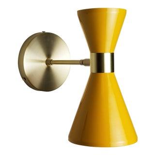 Modern Campana Wall Sconce in Brass + Yellow Enamel For Sale