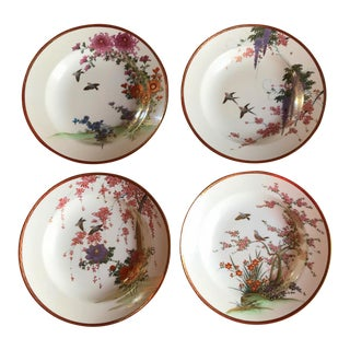 Four Hand Painted OOAK Satsuma Style Plates, Vintage Songbirds For Sale