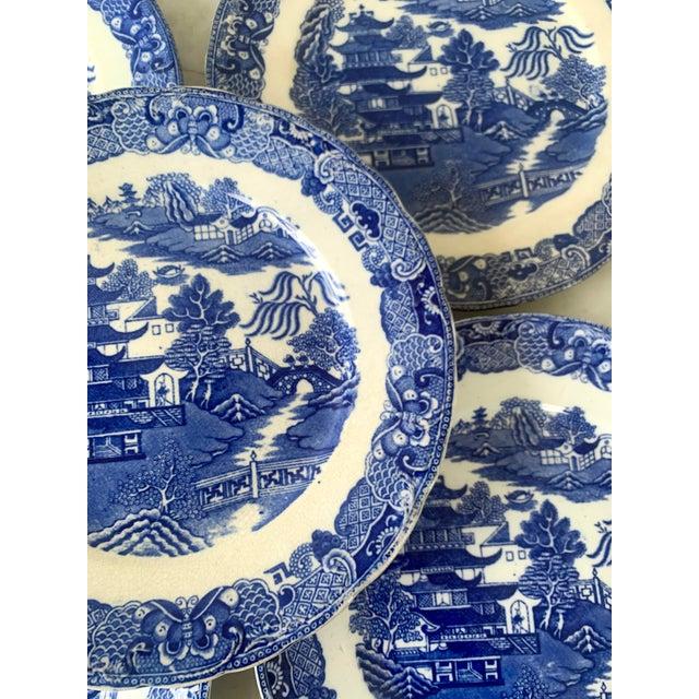 Gorgeous rare Broseley England blue Willow plates.