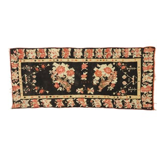 Vintage Floral Turkish Kilim Rug With Chintz Style - 05'04 X 12'05 For Sale
