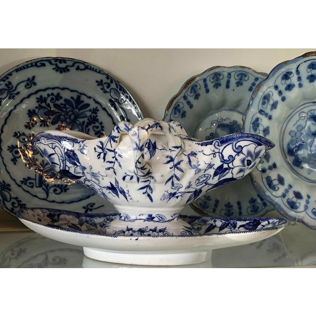 This beautiful French porcelain gravy boat, sauce boat or sauciere is from Creil et Montereau in the blue Flora pattern...