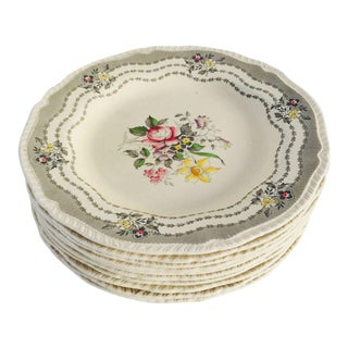 Vintage Cottage Style Floral Plates - Set of 10