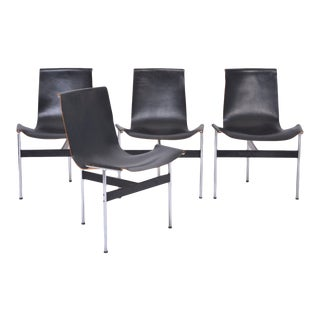 Black leather T chairs by Ross Littell for Laverne International, 1970s, Set of 4 For Sale