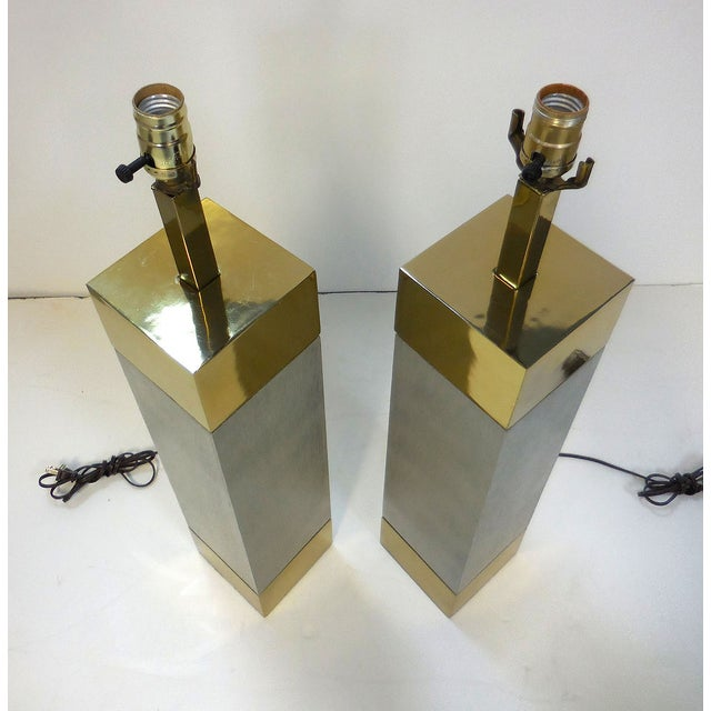 Laurel Brushed Aluminum & Brass Lamps - A Pair - Image 5 of 9