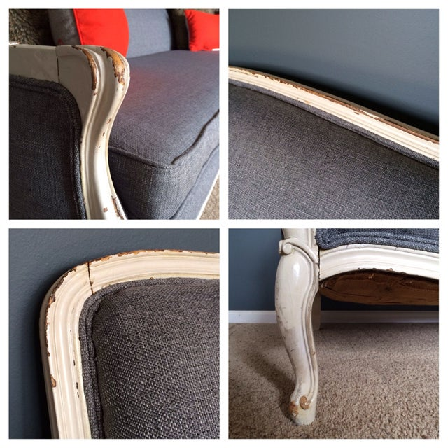Vintage French Provincial Sofa in Grey For Sale - Image 5 of 6