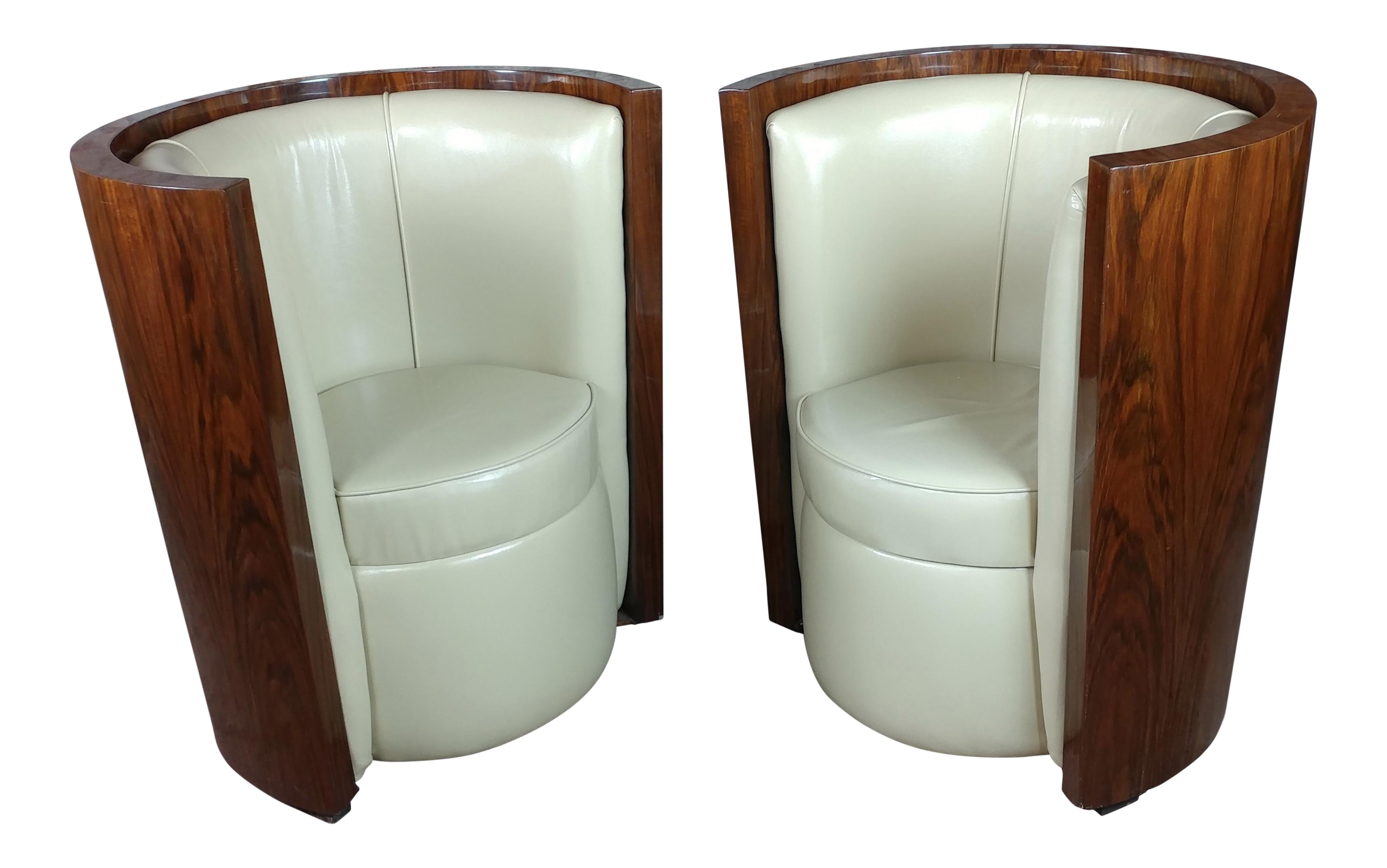 1930 S Art Deco Walnut Barrel Chairs With White Leather Seats A