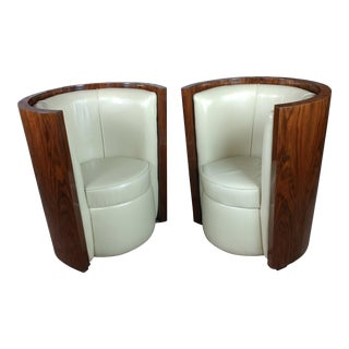 1930's Art Deco Walnut Barrel Chairs with White Leather Seats - A Pair