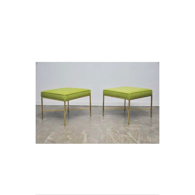 Mid 20th Century Brass X-Base Stools with Chartreuse Upholstery by Paul McCobb - a Pair For Sale - Image 5 of 7