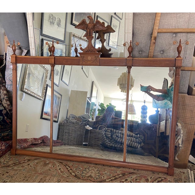 Chestnut Federal Style Three Panel Eagle Mirror For Sale - Image 8 of 8