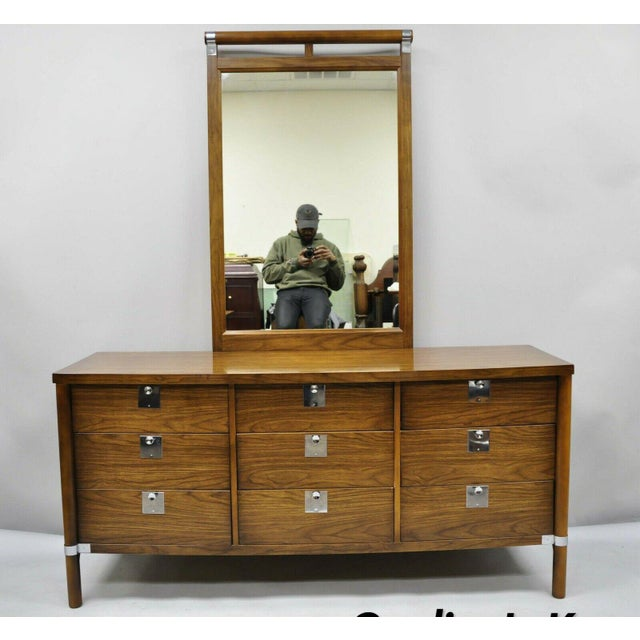 Vintage Mid Century Modern Walnut & Chrome 9 Drawer Credenza Dresser With Mirror For Sale - Image 12 of 12