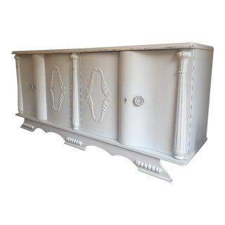 1920s Art Deco French Gray Painted Sideboard For Sale