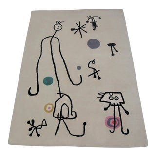 Joan Miro Inspired Art Carpet Wool Area Rug