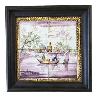 18th C. Dutch Delft Tile Picture For Sale