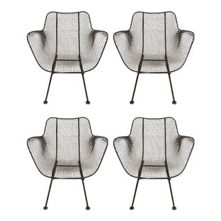 Vintage Mid-Century Russell Woodard Sculptura Metal Mesh Armchairs - Set of 4 For Sale