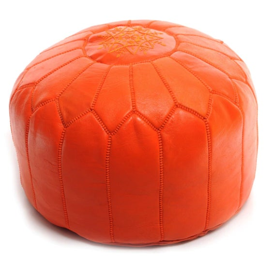 Handmade Moroccan Leather Pouf Authentic Ottoman - Image 3 of 3