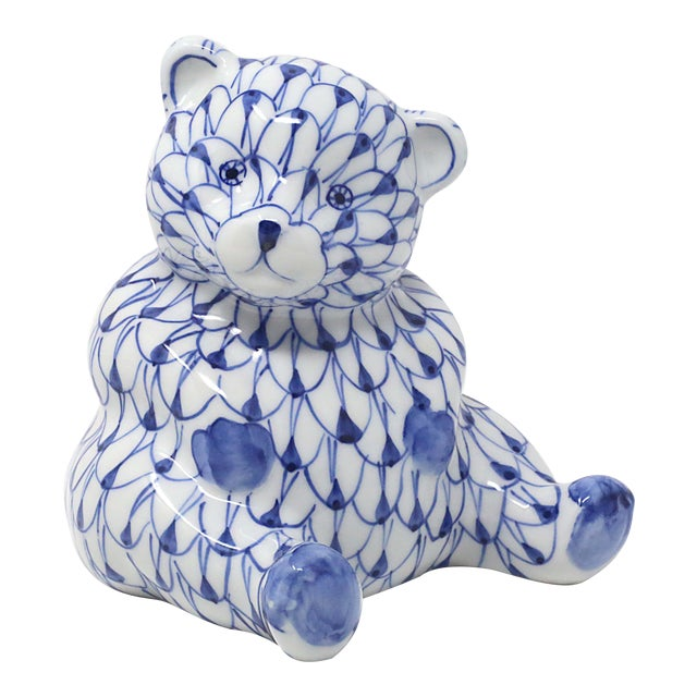 Hand-Painted Fishnet Bear Figurine For Sale