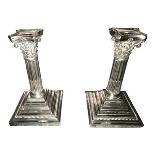 Sterling Silver Neoclassical Ionic Column Candle Holders - a Pair For Sale