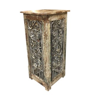Reclaimed Teak Wood and Wrought Iron Fence Pedestal For Sale