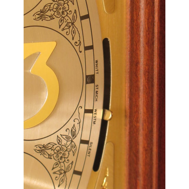 Brown Seth Thomas Cherry Tall Case Grandfather Clock For Sale - Image 8 of 11
