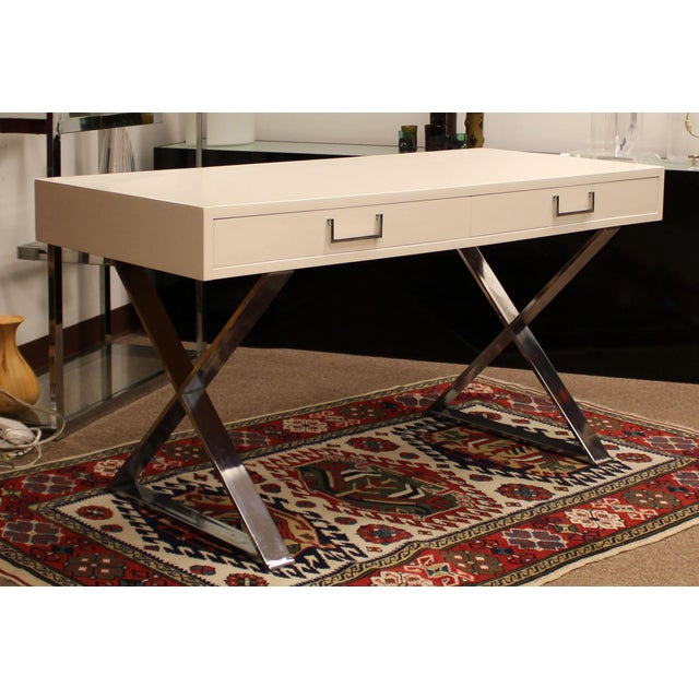 Mid-Century Modern Milo Baughman White Lacquer Chrome X Base Campaign Desk 1960s For Sale - Image 11 of 11