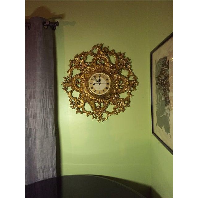 Mid-Century Modern Syroco Gilt Wall Clock - Image 5 of 7