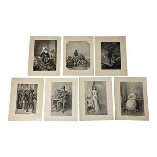 1892 Antique English 19th Century Literature Prints - Set of 7 For Sale