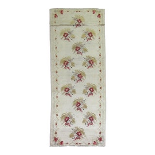 Ivory Turkish Floral Motif Runner - 3'8'' X 8'10''