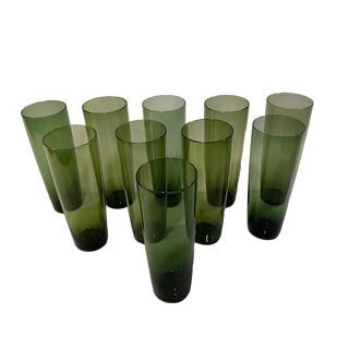 Vintage Mid 1960s Tapio Wirkkala Hand Blown Glasses for Iittala - Set of 10 For Sale