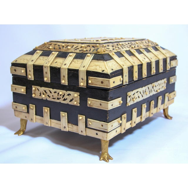 Large Decorative Anglo-Indian Vizagapatam Footed Box For Sale - Image 12 of 13