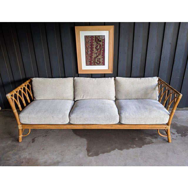 1980s 1980s Contemporary McGuire Bamboo Rattan Sofa For Sale - Image 5 of 11