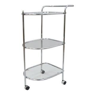 Chrome Metal & Glass 3-Tier Rolling Bar Cart