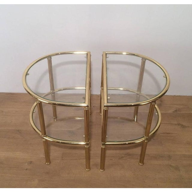 Gold Pair of French Demi Lune Shaped Brass Side Tables For Sale - Image 8 of 10