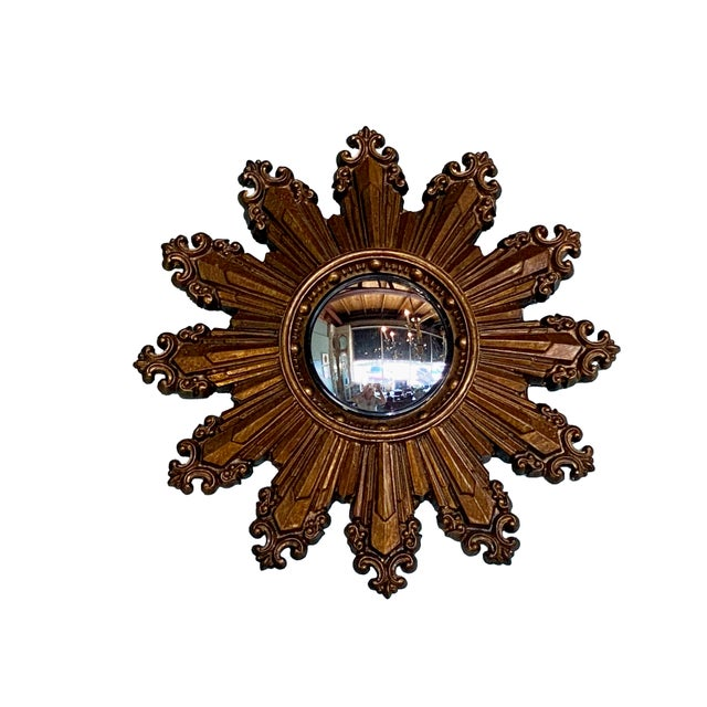 Vintage Small Gilt Convex Starburst Mirror For Sale - Image 4 of 5