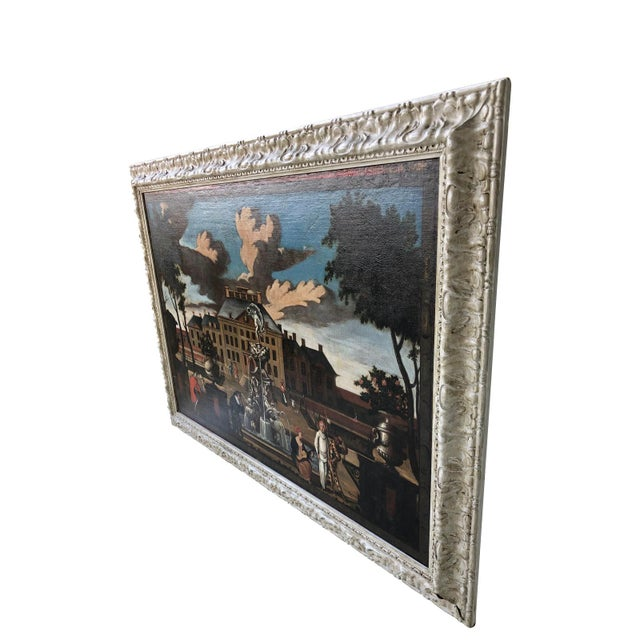"""Canvas 17th Century Dutch School """"Palace Courtyard"""" Painting For Sale - Image 7 of 11"""