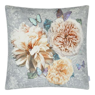 "Kenneth Ludwig Chicago Pahari Platinum Floral 22"" Pillow For Sale"